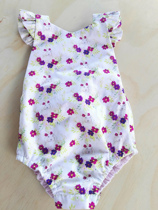Floral Rabbit Playsuit Size 4