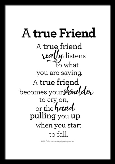A True Friend - Text Print - Digital Download - Icelandic Scandinavian Nordic - Black & White - Minimal Typographic Wall Art