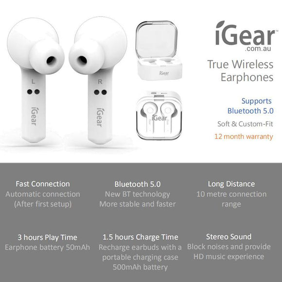 IG1915 Wireless Earphones with Charging Case- White