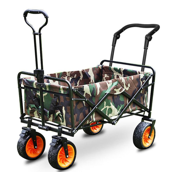 Yadsay 8inch Orange Outdoor Four-wheel Folding Portable Trolley Cart Fishing Shopping Camping
