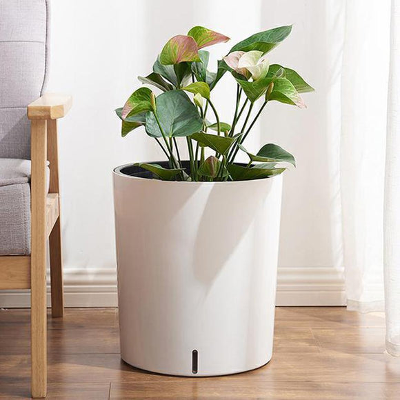 Nordic Simple Large Round Flower Pot For Living Room And Bedroom With Automatic Water Absorption Can Store Water