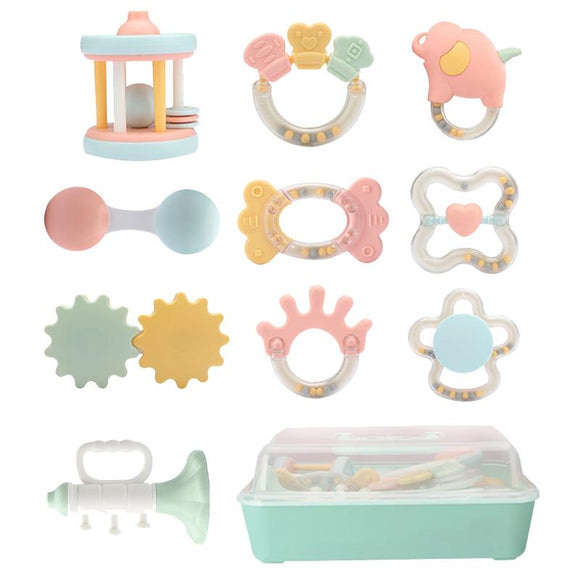 Baby rattle 1 year old infant newborn puzzle toothpaste grip toy 0-3-6 months
