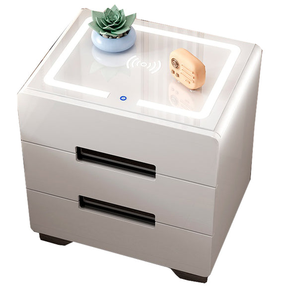 Jia Ruize 2019 Smart bedside table simple modern locker Nordic bedroom multi-function bedside small cabinet white paint simple cabinet