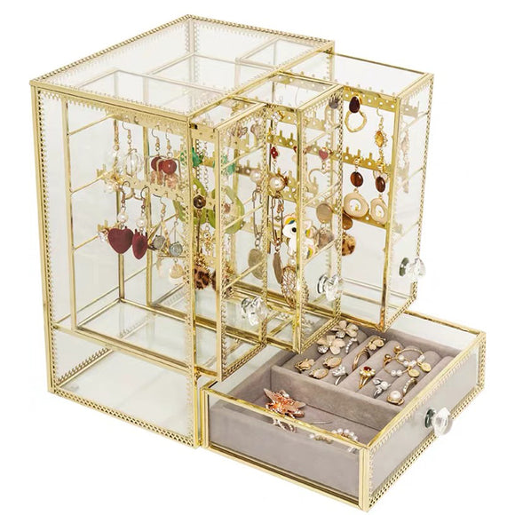 European Style Glass Jewellery Box Rings Earrings Necklaces Collection Box Storage Box Rack Transparent Box