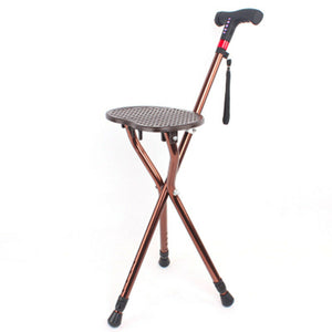 Intelligent Multi-function Portable Walking Stick With Seat Folding Tripod and LED For Elder