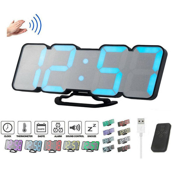 Full Color 3D LED Digital Timer Remote Clock Temperature Alarm