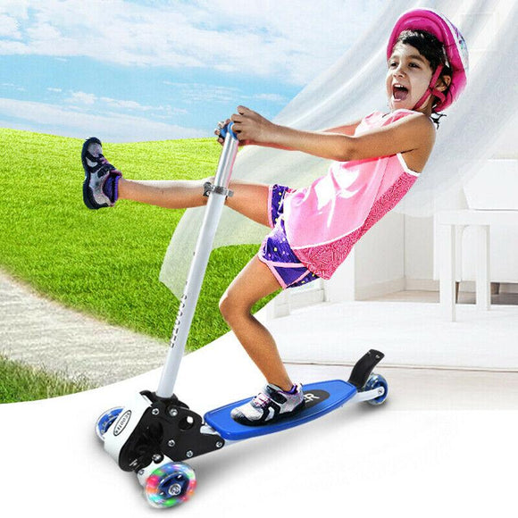 Children's Three-wheeled Foldable Scooter Child Swing Car Height Can Be Adjusted 3-8 Years Old