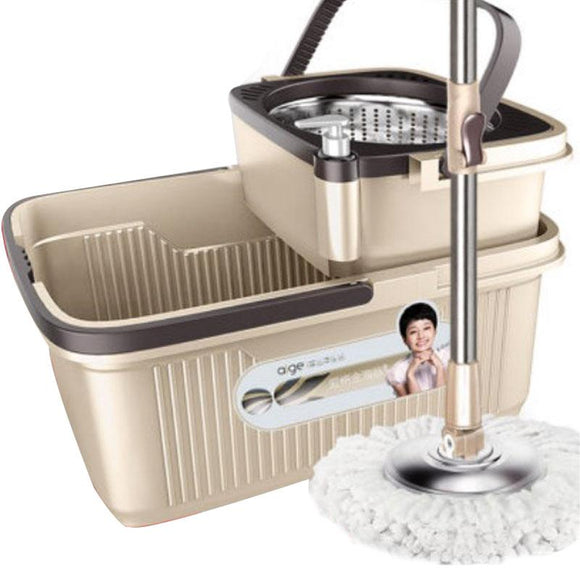 Aige M8 360 Degree Rotating Spin Mop Stainless Steel Bucket Microfiber 3 Mop Heads