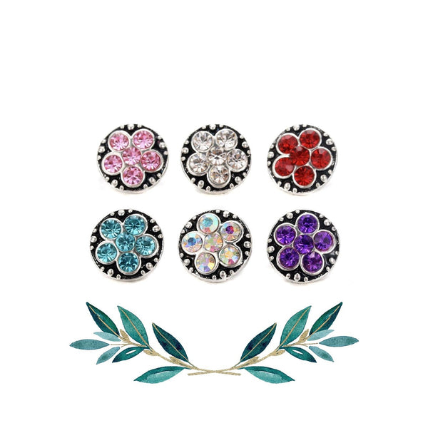 12mm Petite Floral Snap Button Collection - 5 Petal Flower