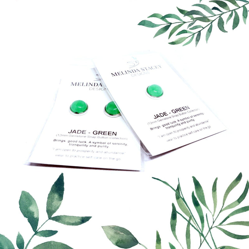 12mm Petite Gemstone Snap Button Collection - Jade (Green)