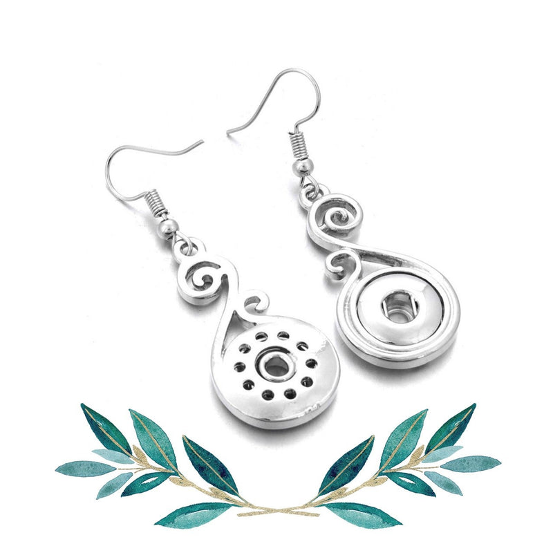 12mm Petite Snap Button Earrings - Scrollwork