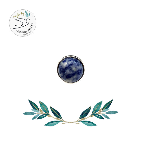 12mm Petite Gemstone Snap Button Collection - Sodalite