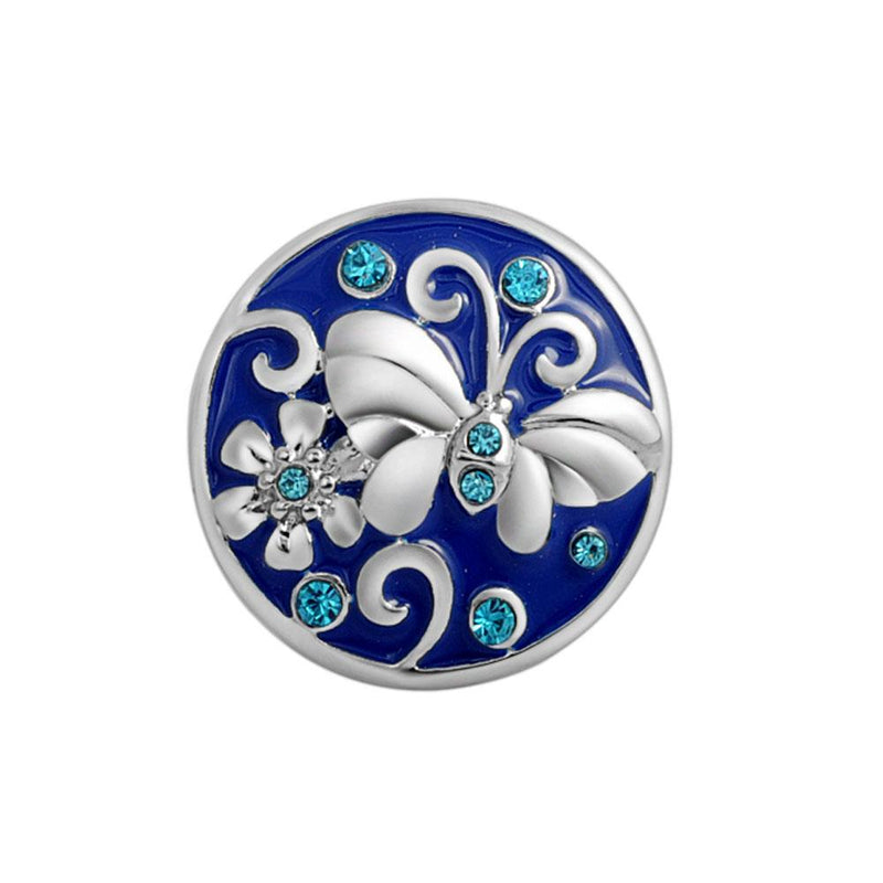 18mm Silver Coloured Butterfly and Flower on Enamel Snap Button
