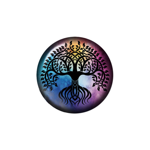 18mm Painted Enamel Tree of Life Snap Button