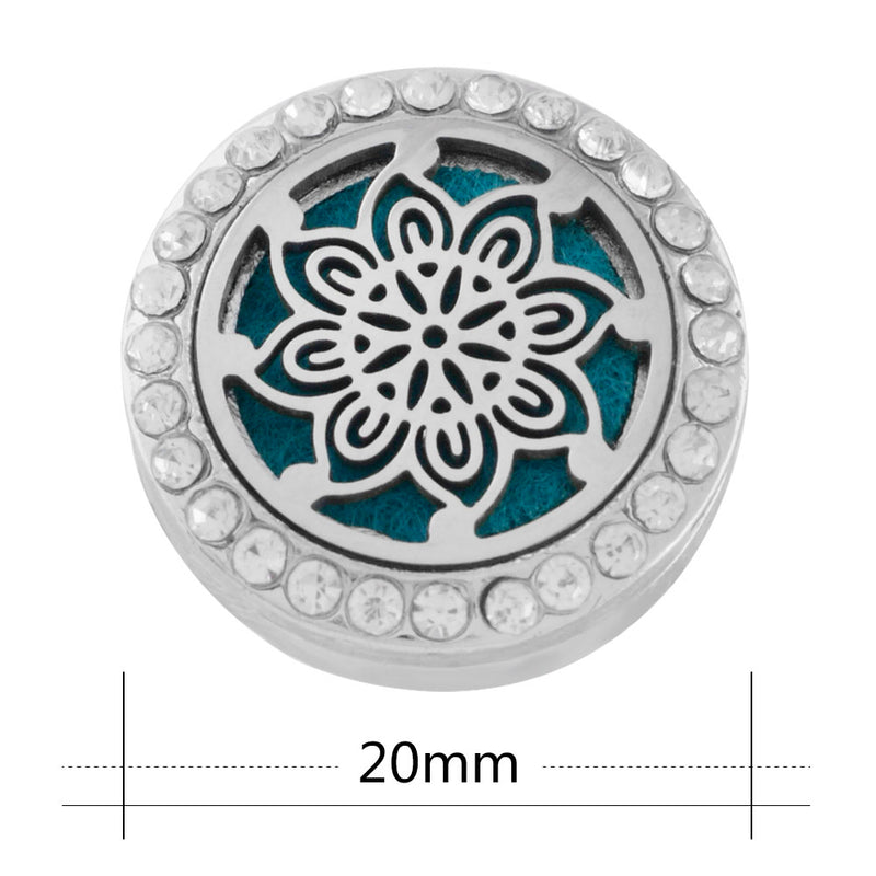 18mm Rhinestone Oil Diffuser Snap Button Collection - Flower Mandala