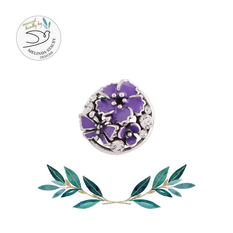 18mm Rhinestone Snap Button Collection - Enamel Butterfly & Flower