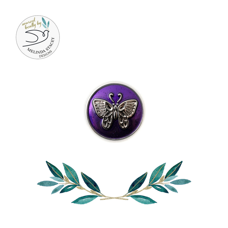 18mm Animal Snap Button Collection - Small Enamel Butterfly