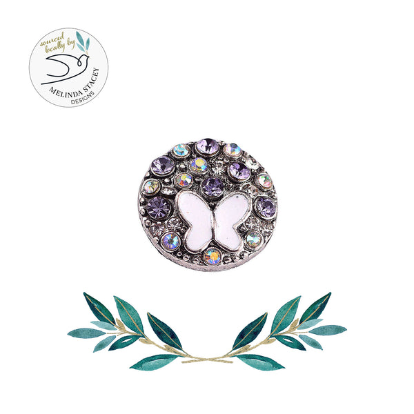 18mm Rhinestone Snap Button Collection - Enamel Butterfly