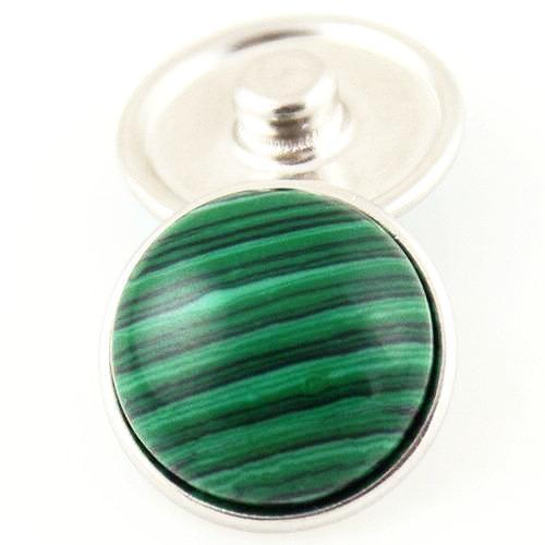 18mm Gemstone Snap Button Collection - Malachite