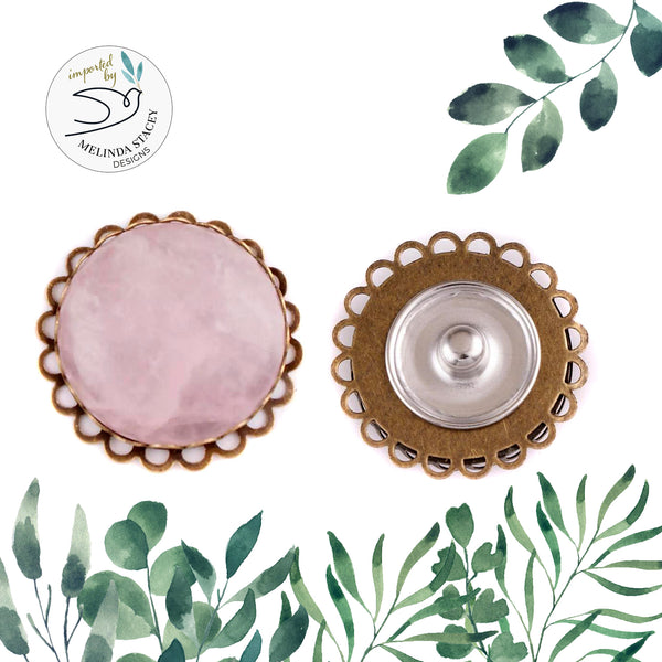 18mm Gemstone Snap Button Collection - 25mm Rose Quartz