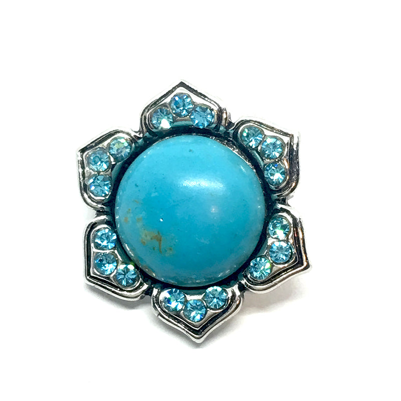 18mm Turquoise Lotus Gemstone Snap Button