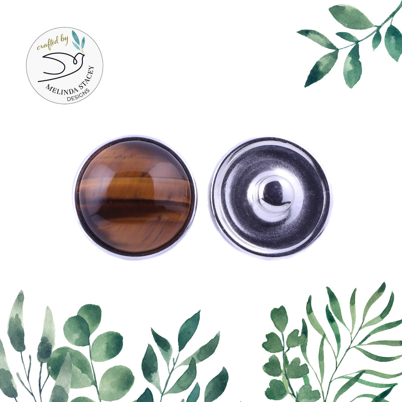 18mm Gemstone Snap Button Collection - Tiger Eye