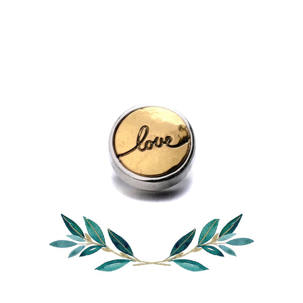 12mm Petite Symbol Snap Button Collection - Gold Love