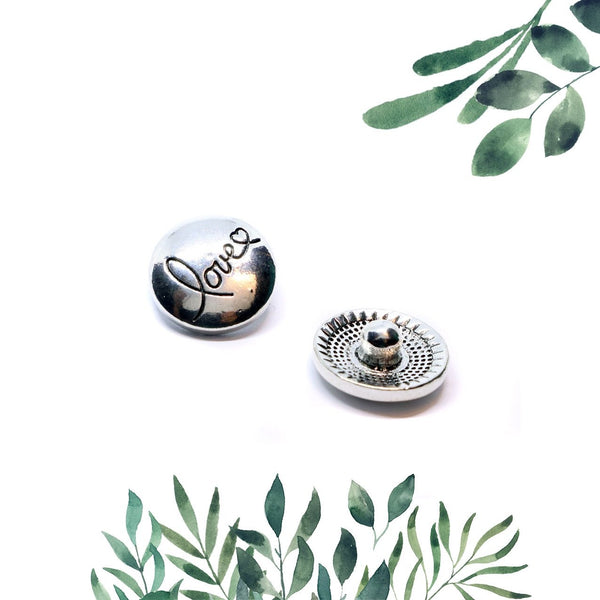 12mm Petite Symbol Snap Button Collection - Silver Love