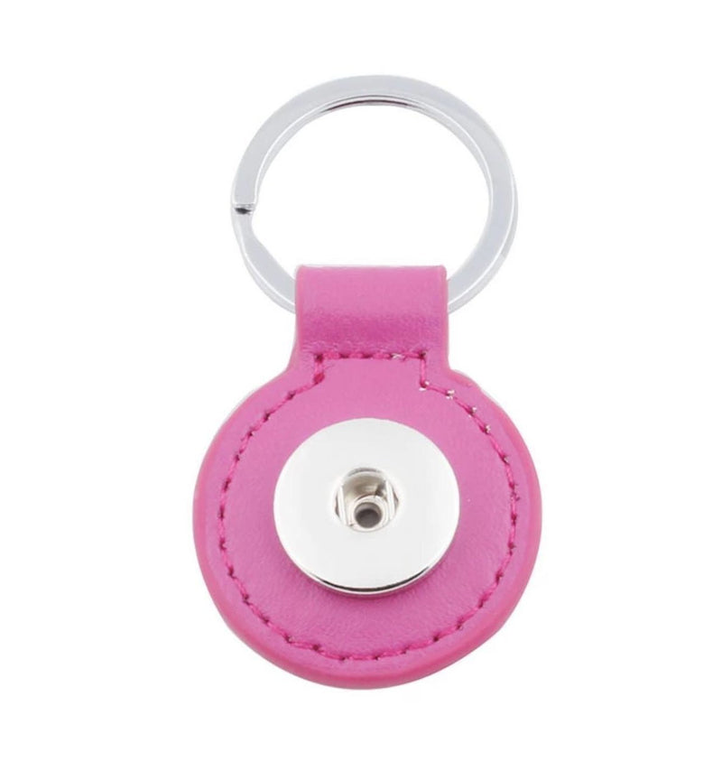 18mm Round Leather Keyring Collection - Dark Pink