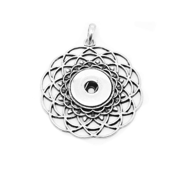 18mm Flower of Life Snap Button Pendant