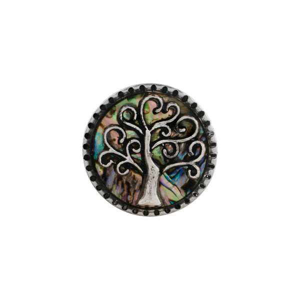 18mm Shell & Metal Snap Button Collection - Tree of Life