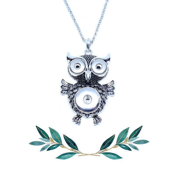 18mm & 12mm Owl Snap Button Pendant