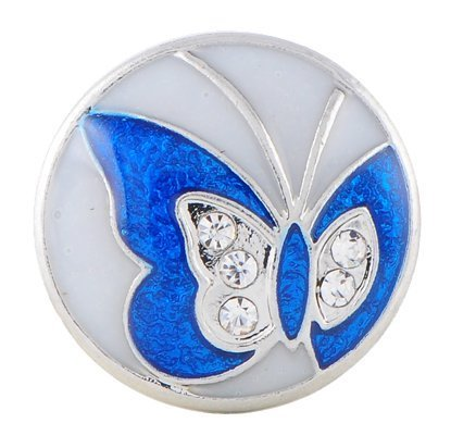 18mm Coloured Butterfly with Rhinestones on Enamel Snap Button