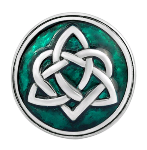 18mm Celtic Triqueta and Heart on Enamel Snap Button