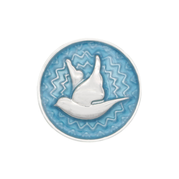 18mm Dove on Enamel Snap Button