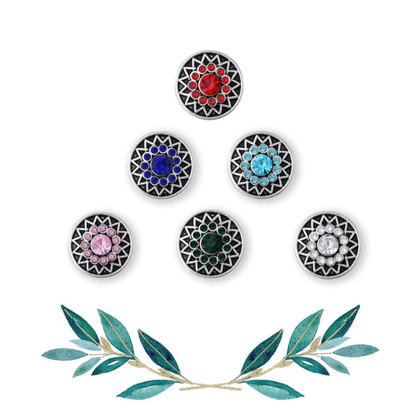 12mm Petite Rhinestone Snap Button Collection - Colour Burst