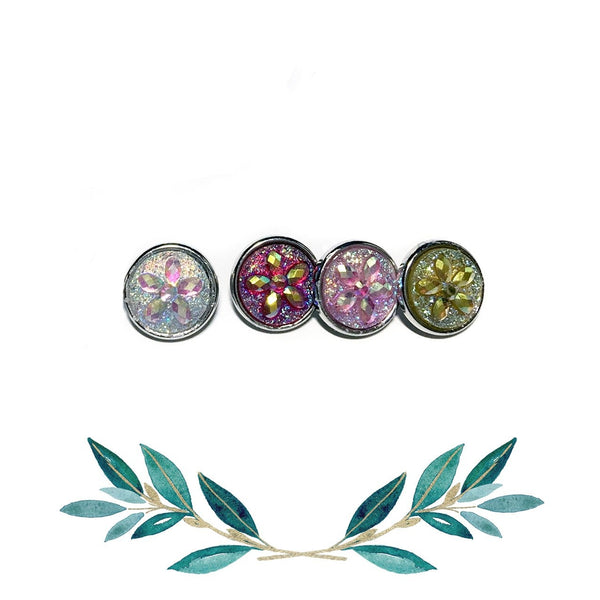12mm Petite Floral Snap Button Collection - Sparkly Resin Flowers