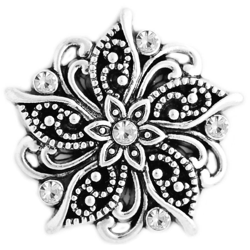 18mm Rhinestone Snap Button Collection - Marcasite Style