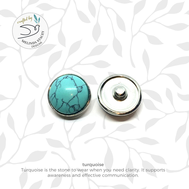 12mm Petite Gemstone Snap Button Collection - Turquoise
