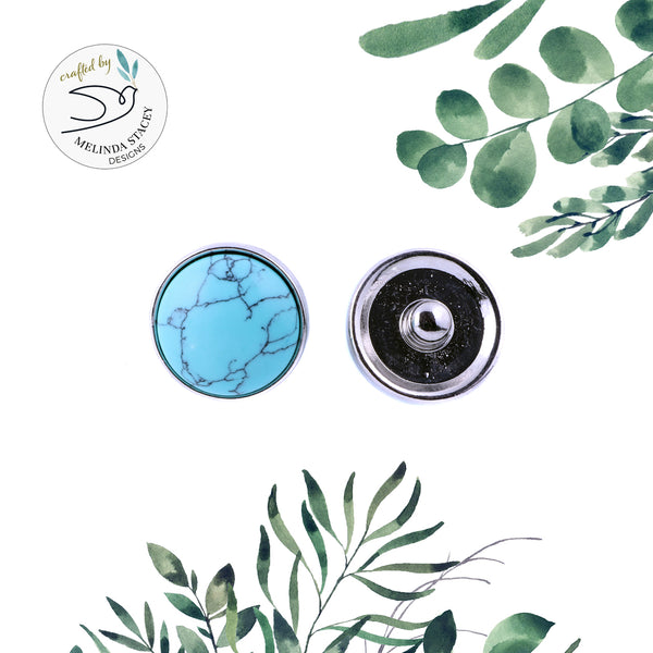 18mm Gemstone Snap Button Collection - Turquoise