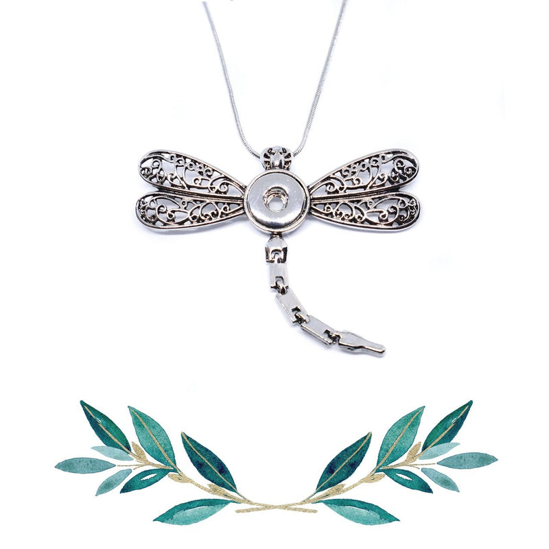 12mm Petite Dragonfly Snap Button Pendant