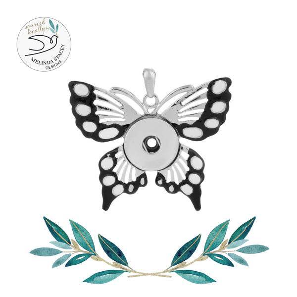 18mm Enamel Butterfly Snap Button Pendant