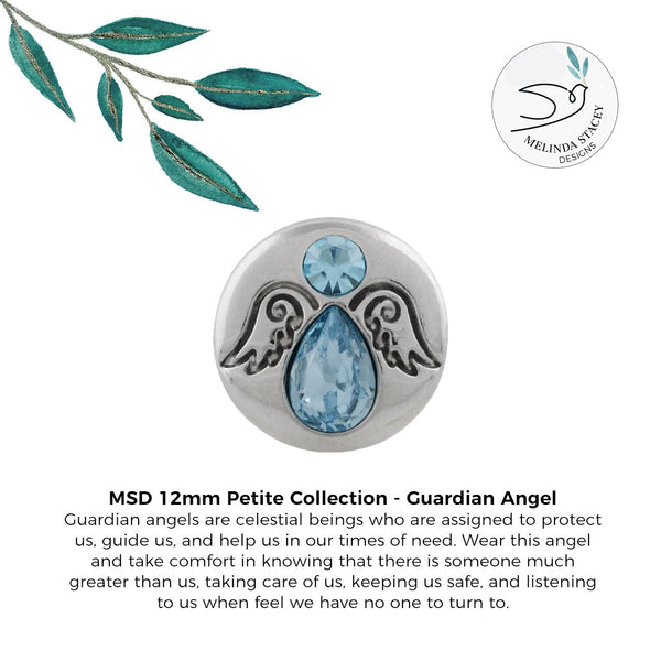 12mm Petite Rhinestone Snap Button Collection - Guardian Angel