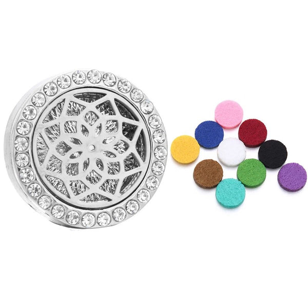 18mm Rhinestone Oil Diffuser Snap Button Collection - Seed of Life