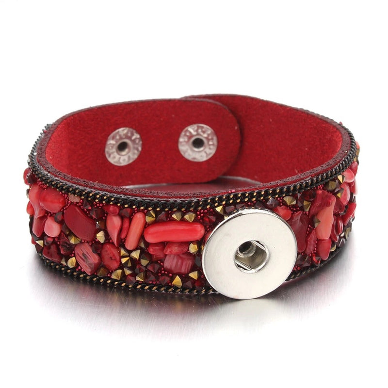 18mm Suede Gemstone Snap Button Bracelet