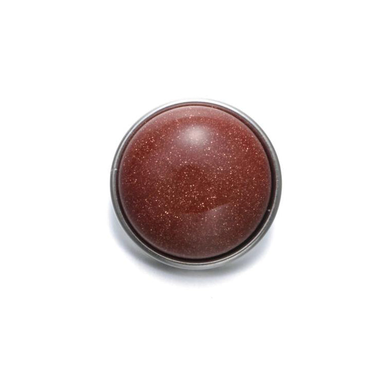 18mm Gemstone Snap Button Collection - Brown Goldstone (man made stone)