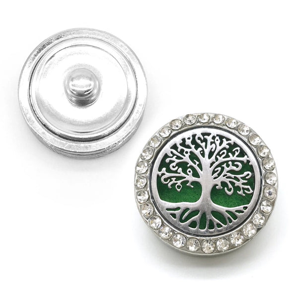 18mm Rhinestone Oil Diffuser Snap Button Collection - Tree of Life