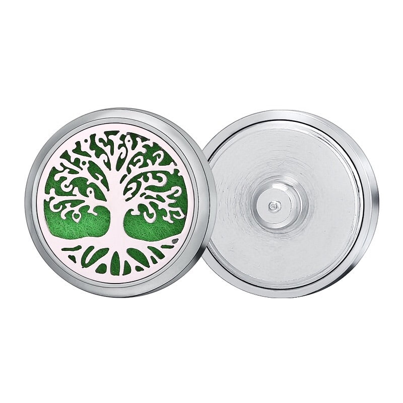18mm Stainless Steel Oil Diffuser Snap Button Collection - Silver Tree of Life