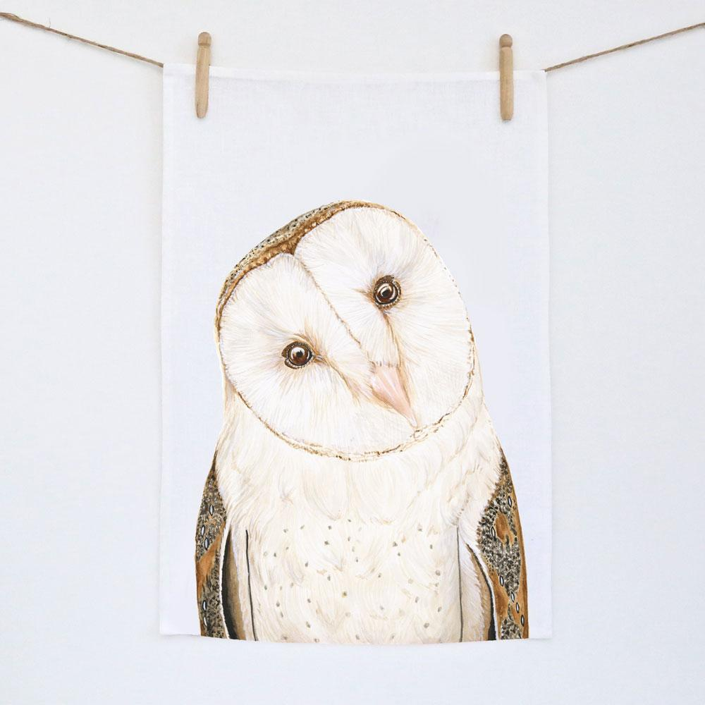 LUNA THE BARN OWL TEA TOWEL