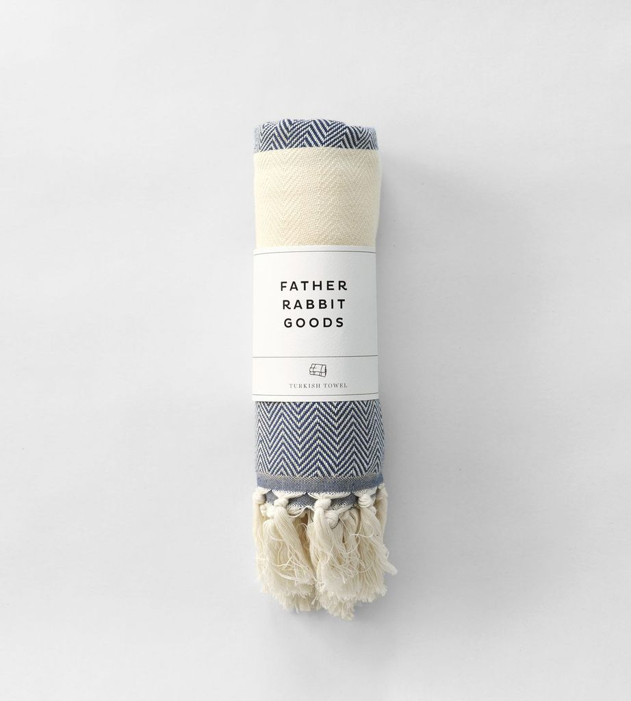 FATHER RABBIT GOODS | TURKISH TOWEL | THE HERRINGBONE | NAVY & NATURAL
